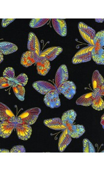 Colorful Metallic Butterflies, Timeless Treasures