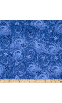 Blue Winter Snowy Swirl, Timeless Treasures