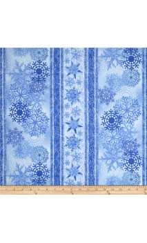 Blue Winter Snowflake Border Stripe, Timeless Treasures