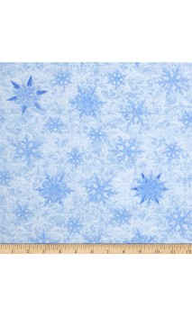 Blue Winter Tossed Snowflakes Frost, Timeless Treasures