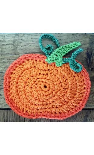 Crochet pumpkin coaster