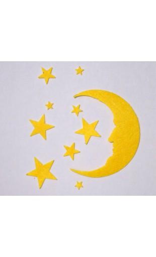 Filz Mond und Sterne