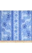 Blue Winter Snowflake Border Stripe, Timeless Treasures